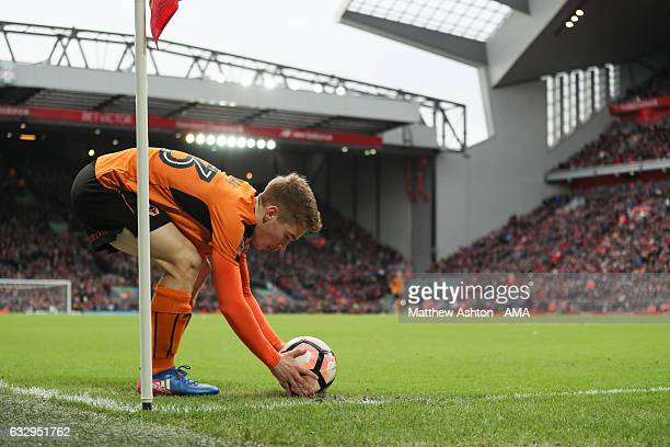 Connor Ronan of Wolverhampton Wanderers places the ball down before taking a corner during The Emirates FA Cup Fourth Round between Liverpool and...