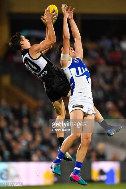 Connor Rozee of the Power marks the ball during the round 6 AFL match between Port Adelaide and North Melbourne at Adelaide Oval on April 26, 2019 in...