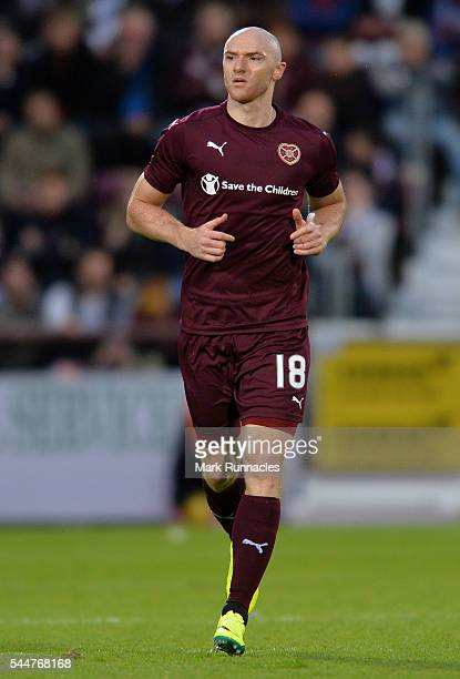 Connor Sammon of Heats in action during the UEFA Europa League First Qualifying Round match between Heart of Midlothian FC and FC Infonet Tallinn at...