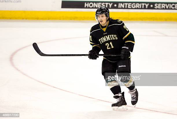 Connor Sanvido of the St. Thomas University Tommies before NCAA exhibition hockey against the Massachusetts Lowell River Hawks at the Tsongas Center...