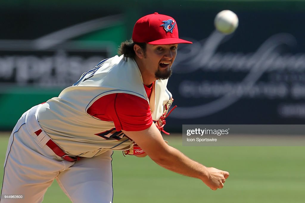 Connor Seabold (35) of the Threshers delivers a pitch to the plate during the Florida State League game between the Jupiter Hammerheads and the Clearwater Threshers on April 11, 2018, at Spectrum Field in Clearwater, FL.