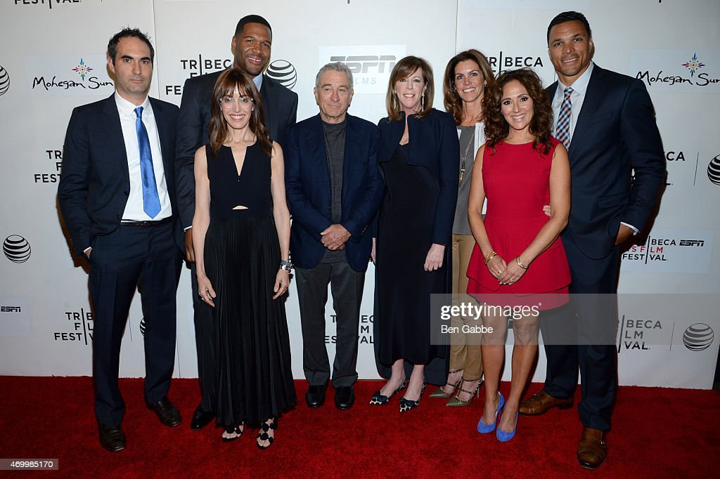 Connor Sehell, director Andrea Nevins, executive producer Michael Strahan, Tribeca Film Festival Co-founder Robert De Niro, Tribeca Film Festival Co-founder Jane Rosenthal, producer Cristan Reilly, executive producer Constance Schwartz, and Tony Gonzalez attend the Tribeca/ESPN Sports Film Festival Gala for the premiere of 'Play It Forward' during the 2015 Tribeca Film Festival at BMCC Tribeca PAC on April 16, 2015 in New York City.