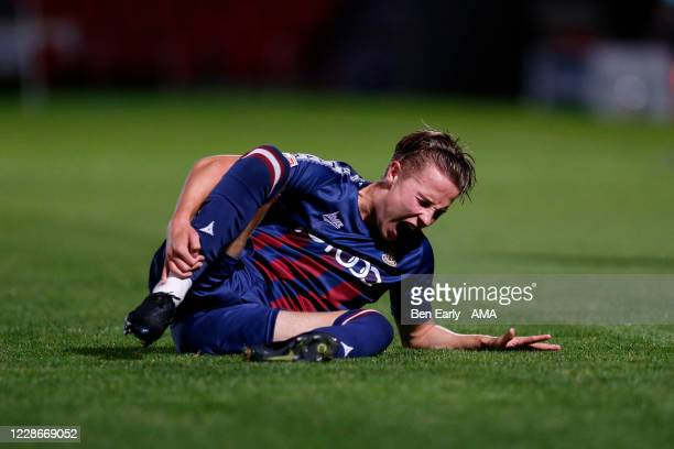 Connor Shanks of Bradford City goes down with an injury during the EFL Trophy match between Doncaster Rovers v Bradford City at Keepmoat Stadium on...