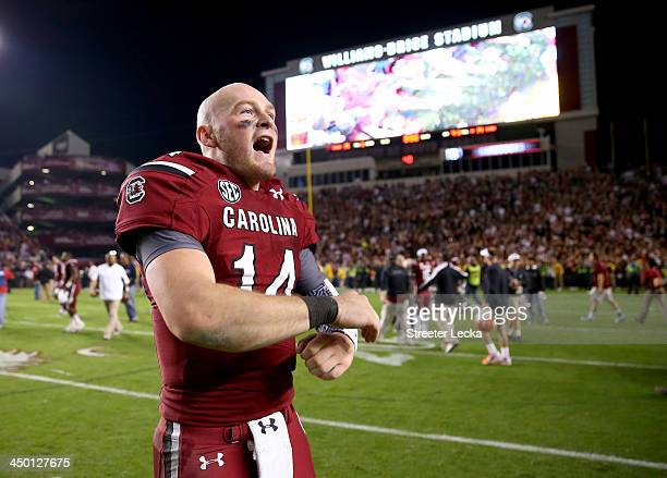 Connor Shaw of the South Carolina Gamecocks celebrates after defeating the Florida Gators 1914 during their game at WilliamsBrice Stadium on November...