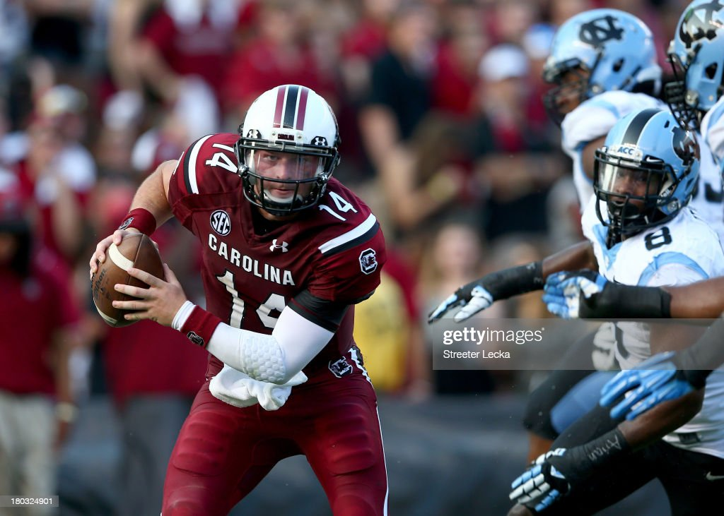 Connor Shaw #14 of the South Carolina Gamecocks during their game at Williams-Brice Stadium on August 29, 2013 in Columbia, South Carolina.