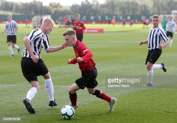 Connor Stanley of Manchester United U18s in action during the U18 Premier League North match between Manchester United U18s and Newcastle United U18s...