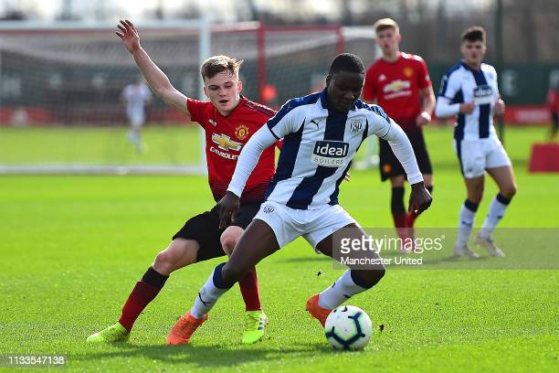 Connor Stanley of Manchester United U18s in action during the U18 Premier League match between Manchester United U18s and West Bromwich Albion U18s...