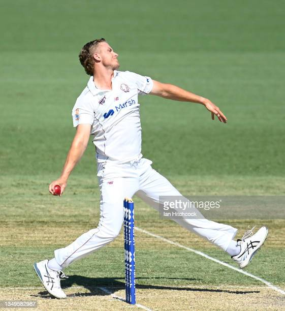 Connor Sully of Queensland bowls during day two of the Sheffield Shield match between Queensland and Tasmania at Riverway Stadium, on October 28 in...