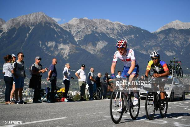 Connor Swift of Great Britain / Sergio Henao Montoya of Colombia / during the Men Elite Road Race a 2585km race from Kufstein to Innsbruck 582m at...