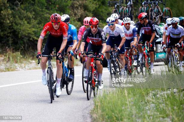 Connor Swift of The United Kingdom and Team Arkéa Samsic & Brent Van Moer of Belgium and Team Lotto Soudal in the Breakaway during the 108th Tour de...