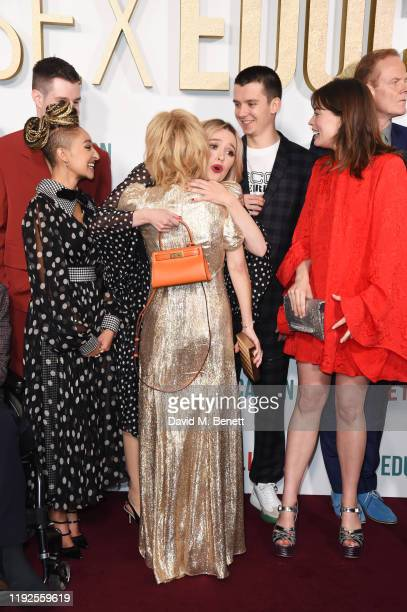 Connor Swindells Patricia Allison Gillian Anderson Aimee Lou Wood Asa Butterfield Emma Mackey and Alistair Petrie attend the World Premiere of...