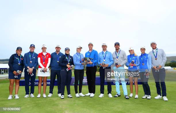 Connor Syme Liam Johnston Meghan Maclaren and Michele Thomson of Great Britain 3 pose with their silver medals Valdis Thora Jonsdottir Birgir...