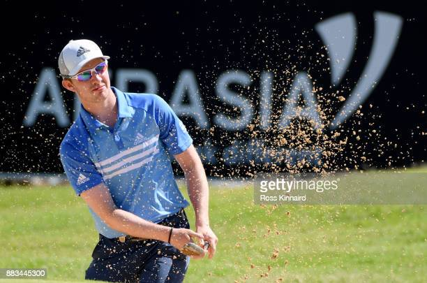 Connor Syme o f Scotland on the 9th hole during the second round of the AfrAsia Bank Mauritius Open at Heritage Golf Club on December 1 2017 in Bel...
