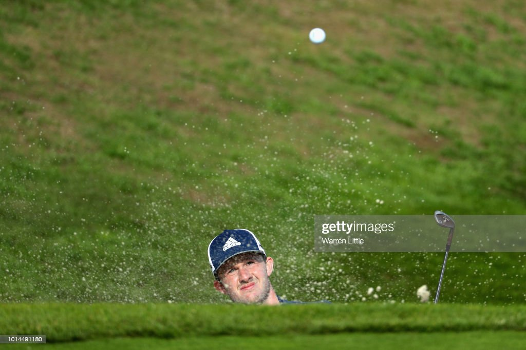 Connor Syme of Great Britain plays from a bunker on hole eighteen during match 6 of Group B during day three of the European Golf Team Championships at Gleneagles on August 10, 2018 in Auchterarder, Scotland. This event forms part of the first multi-sport European Championships.