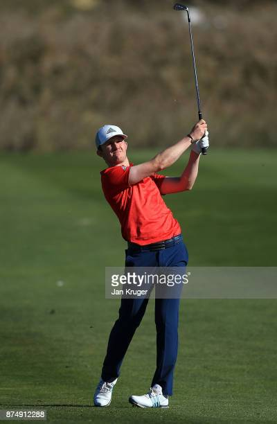 Connor Syme of Scotland in action during the final round of the European Tour Qualifying School Final Stage at Lumine Golf Club on November 16 2017...