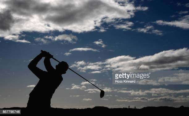 Connor Syme of Scotland on the second tee during the first round of the Alfred Dunhill Links Championship at the Carnoustie Golf Links on October 5...