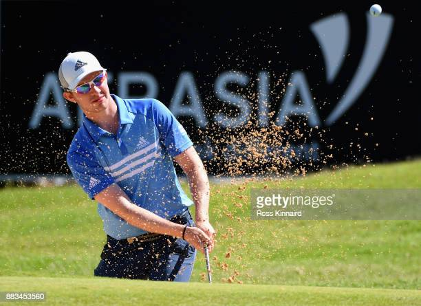 Connor Syme of Scotland plays out of a bunker during day two of the AfrAsia Bank Mauritius Open at Heritage Golf Club on December 1 2017 in Bel Ombre...
