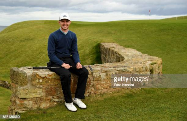 Connor Syme of Scotland poses foe a picture during a practice round prior to the 2017 Alfred Dunhill Links Championship at Kingsbarns on October 3...