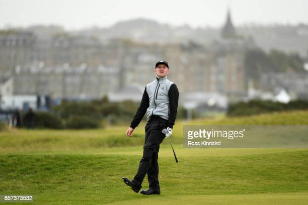 Connor Syme of Scotland reacts to his shot on the 5th during practice prior to the 2017 Alfred Dunhill Links Championship at The Old Course on...