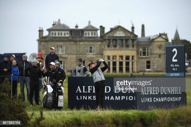 Connor Syme of Scotland tees off on the 2nd during practice prior to the 2017 Alfred Dunhill Links Championship at The Old Course on October 4 2017...