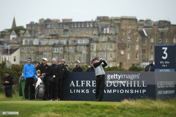 Connor Syme of Scotland tees off on the 3rd during practice prior to the 2017 Alfred Dunhill Links Championship at The Old Course on October 4 2017...