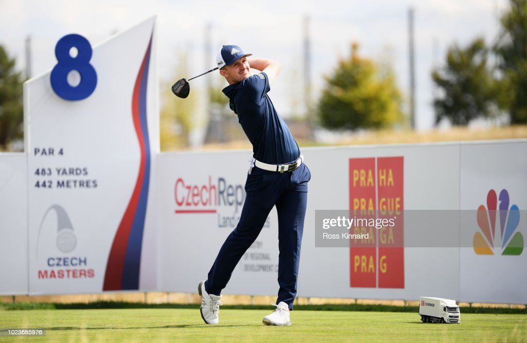 Connor Syme of Scotland tees off on the 8th hole during day four and final round of the the D+D REAL Czech Masters at Albatross Golf Resort on August 26, 2018 in Prague, Czech Republic.