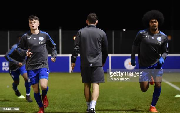 Connor Tee and Hamza Choudhury of Leicester City warm up ahead of the Premier League 2 match between Leicester City and Barnsley at Holmes Park on...
