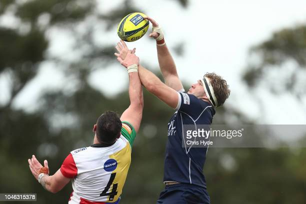 Connor Vest of the Sydney and Angus ScottYoung of Country compete for the ball during the round six NRC match between Queensland Country and Sydney...