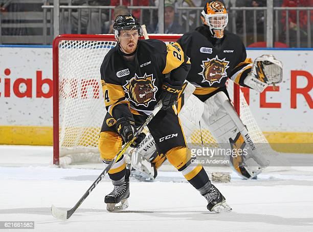 Connor Walters of the Hamilton Bulldogs skates against the London Knights during an OHL game at Budweiser Gardens on November 6 2016 in London...