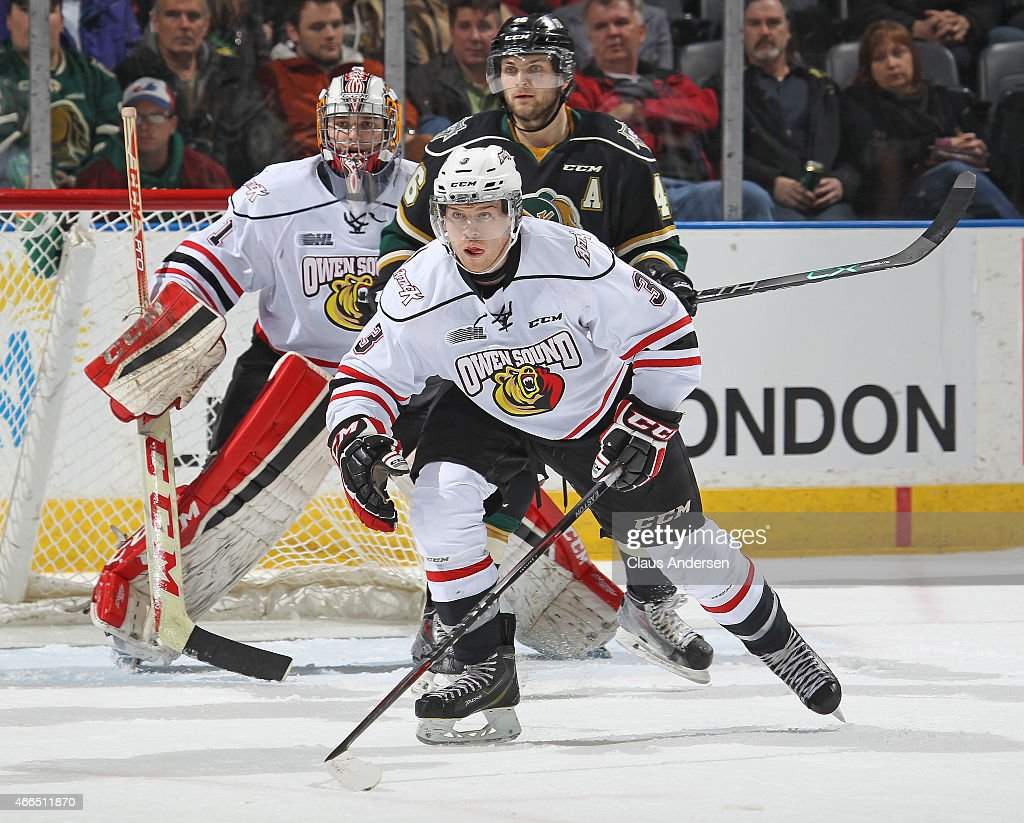 Connor Walters #3 of the Owen Sound Attack skates against the London Knights during an OHL game at Budweiser Gardens on March 13, 2015 in London, Ontario, Canada. The Knights defeated the Attack 3-2.