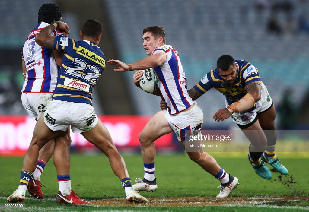 Connor Watson of the Knights in action during the round 13 NRL match between the Parramatta Eels and the Newcastle Knights at ANZ Stadium on June 2, 2018 in Sydney, Australia.