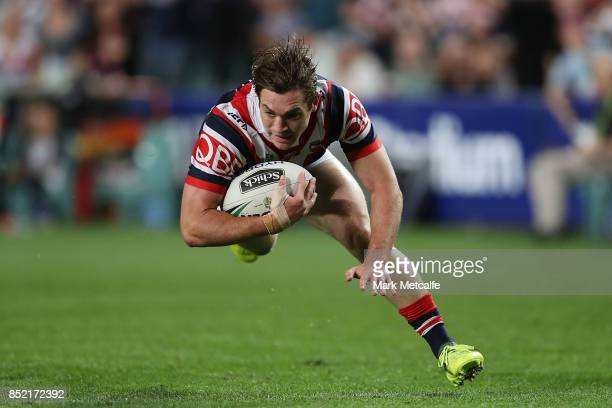 Connor Watson of the Roosters scores a try during the NRL Preliminary Final match between the Sydney Roosters and the North Queensland Cowboys at...