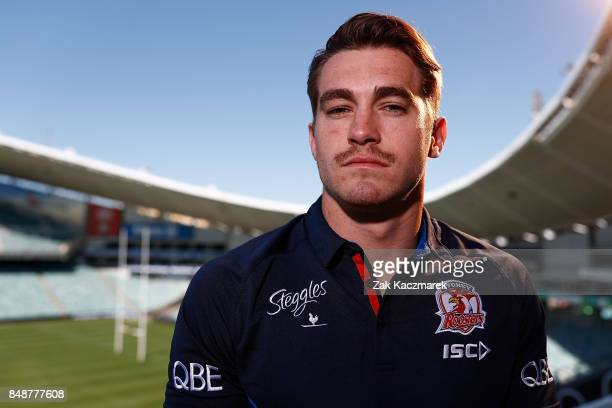 Connor Watson poses during a Sydney Roosters NRL training and media session at Allianz Stadium on September 18 2017 in Sydney Australia