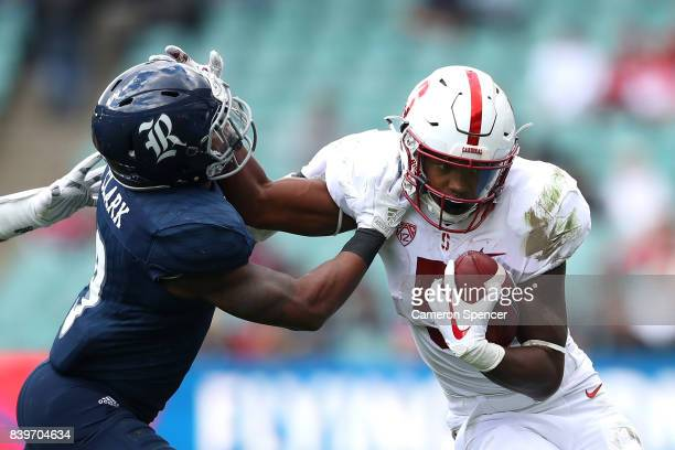 Connor Wedington of Stanford makes a break during the College Football Sydney Cup match between Stanford University and Rice University at Allianz...