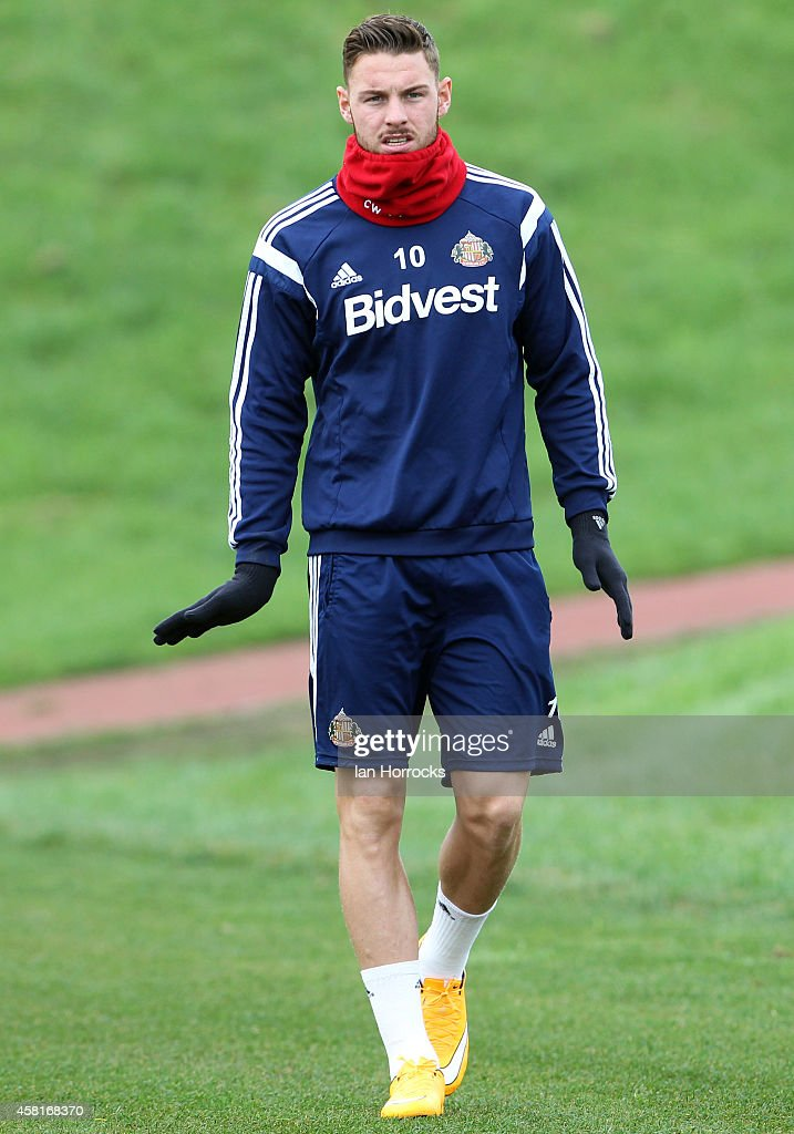 Connor Wickham during a Sunderland AFC Training Session at The Academy of Light on October 31, 2014 in Sunderland, England.