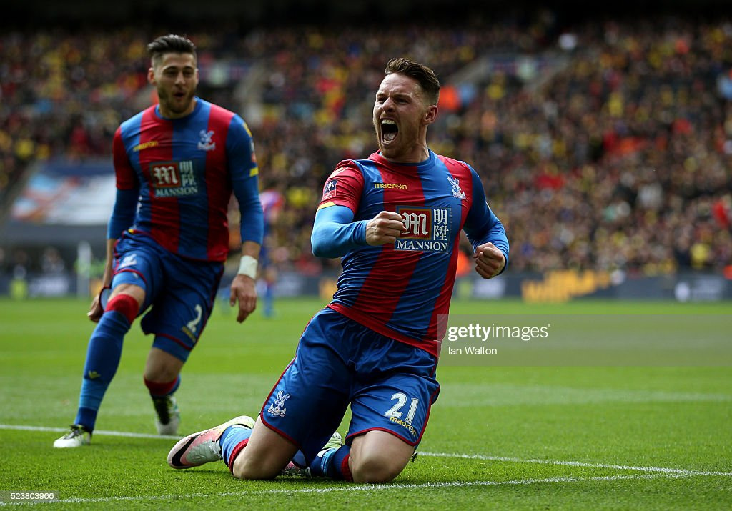 Connor Wickham of Crystal Palace (21) celebrates as he scores their second goal with a header during The Emirates FA Cup semi final match between Watford and Crystal Palace at Wembley Stadium on April 24, 2016 in London, England.