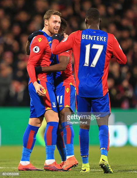 Connor Wickham of Crystal Palace scores his sides first goal with Christian Benteke of Crystal Palace during the Premier League match between Crystal...