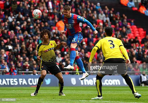 Connor Wickham of Crystal Palace scores their seocnd goal with a header during The Emirates FA Cup semi final match between Watford and Crystal...