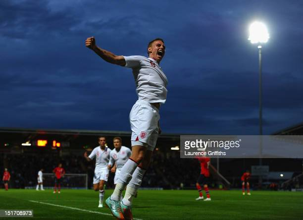 Connor Wickham of England celebrates the opening goal during the UEFA Under21 EURO 2013 Group 8 Qualifier between England and Norway at Proact...