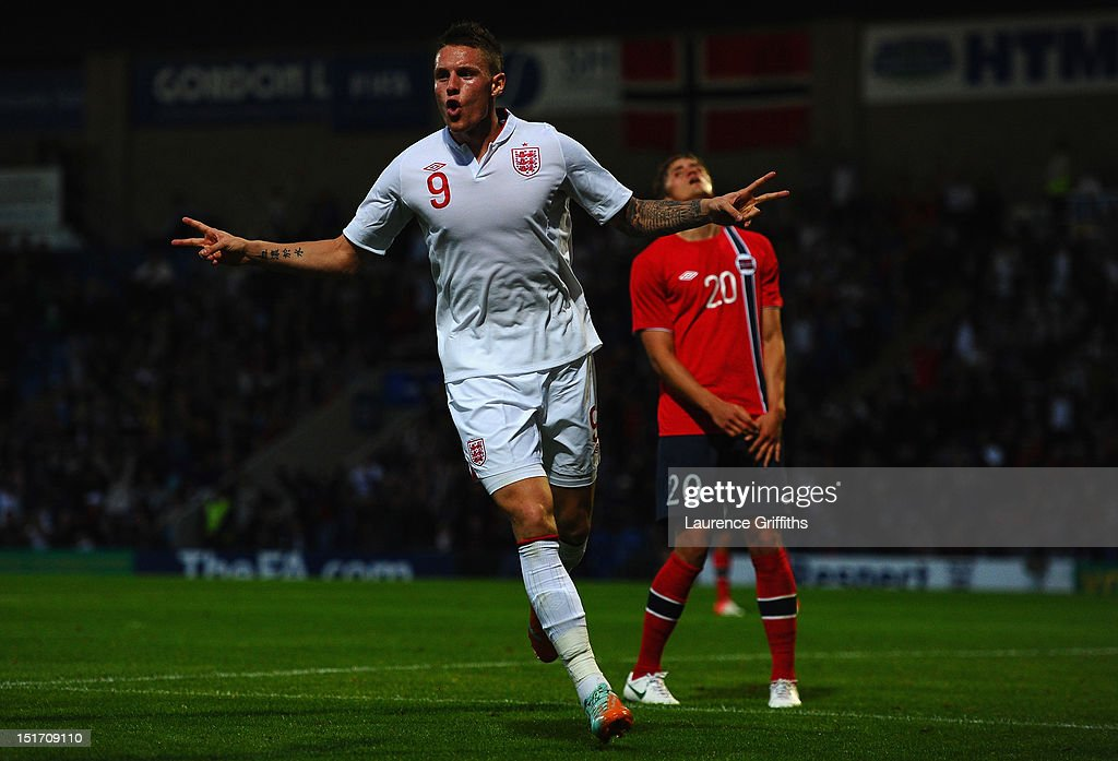 Connor Wickham of England celebrates the opening goal during the UEFA Under-21 EURO 2013 Group 8 Qualifier between England and Norway at Proact Stadium on September 10, 2012 in Chesterfield, England.