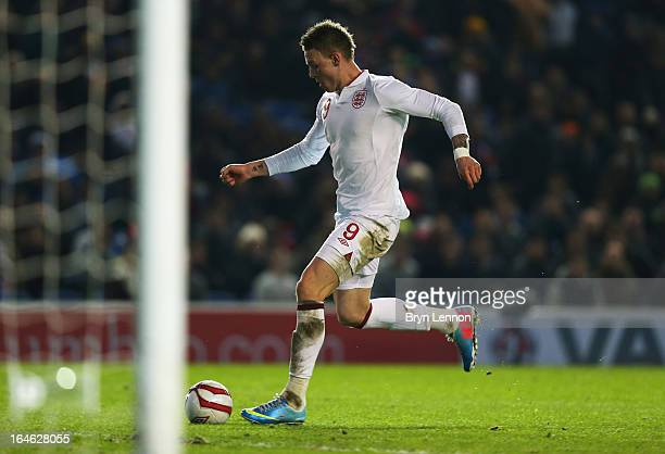 Connor Wickham of England scores their fourth goal during the International friendly match between England U21 and Austria U21 at Amex Stadium on...