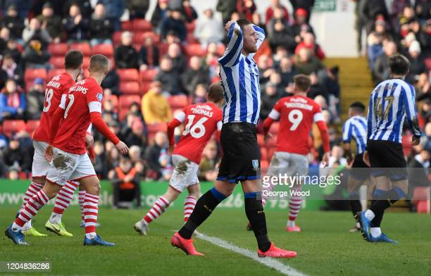 Connor Wickham of Sheffield Wednesday reacts during the Sky Bet Championship match between Barnsley and Sheffield Wednesday at Oakwell Stadium on...