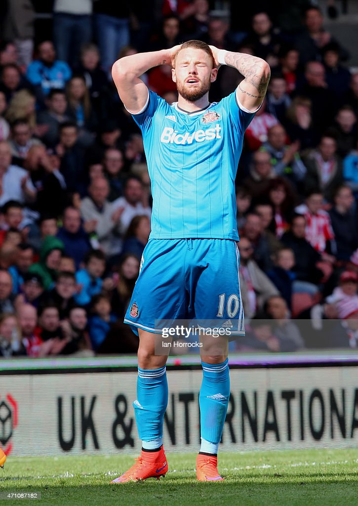 Connor Wickham of Sunderland after missing a chance during the Barclays Premier League match between Stoke City and Sunderland AFC at the Britannia Stadium on April 25, 2015 in Stoke, England.