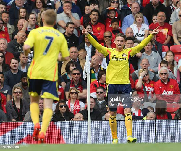 Connor Wickham of Sunderland celebrates his part in Sebastian Larsson scoring their first goal during the Barclays Premier League match between...