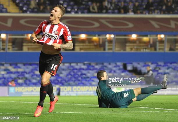 Connor Wickham of Sunderland celebrates scoring the opening goal with during the Capital One Cup Second Round match between Birmingham City and...