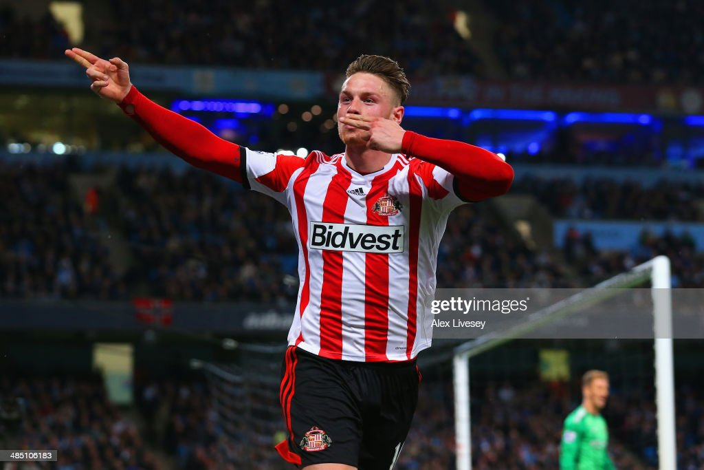 Connor Wickham of Sunderland celebrates scoring their first goal during the Barclays Premier League match between Manchester City and Sunderland at Etihad Stadium on April 16, 2014 in Manchester, England.