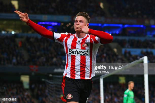 Connor Wickham of Sunderland celebrates scoring their first goal during the Barclays Premier League match between Manchester City and Sunderland at...