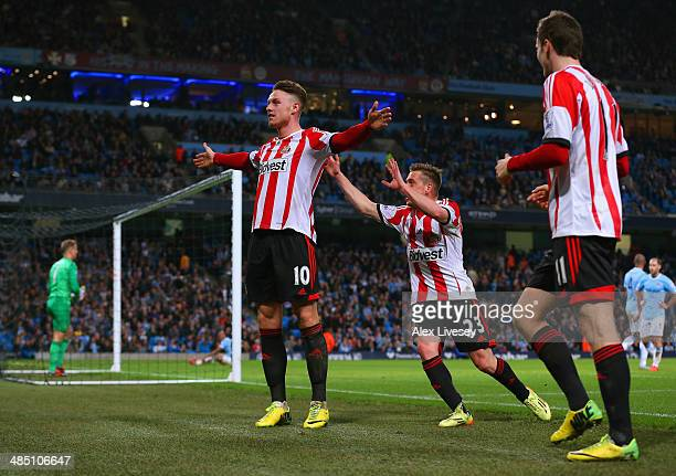 Connor Wickham of Sunderland celebrates scoring their second goal with Emanuele Giaccherini of Sunderland during the Barclays Premier League match...