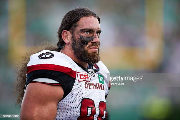 Connor Williams of the Ottawa Redblacks on the sideline during the game between the Ottawa Redblacks and the Saskatchewan Roughriders at Mosaic...