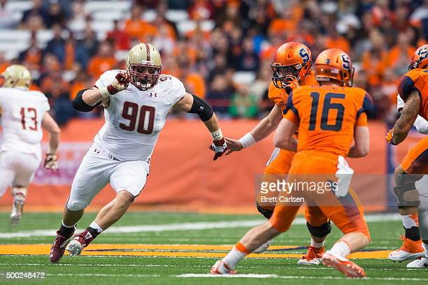 Connor Wujciak of the Boston College Eagles pursues Zack Mahoney of the Syracuse Orange during the game on November 28 2015 at The Carrier Dome in...